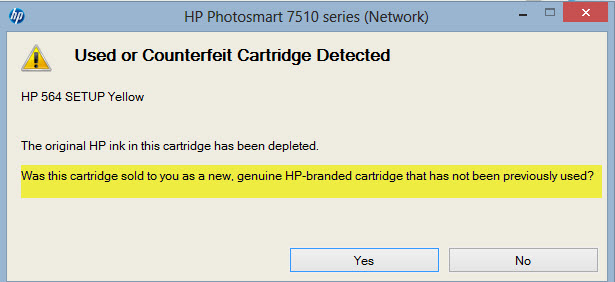 HP Printer Error: Used or Counterfeit Cartridge Detected - Ink