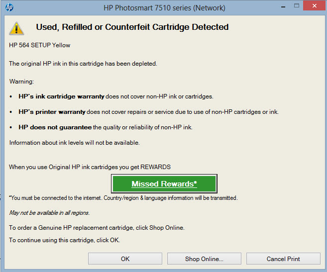 HP Printer Error Used Or Counterfeit Cartridge Detected