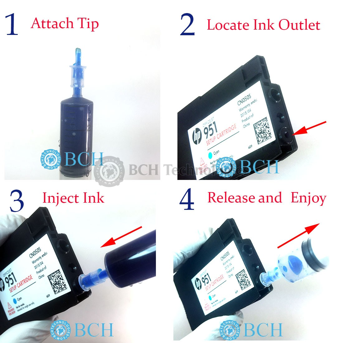 (available here:  https://www.bchtechnologies.com/accessories/refill-tip-adapter-for-hp-950-951-932- 933-xl-cartridges.html), you do not to drill a hole.
